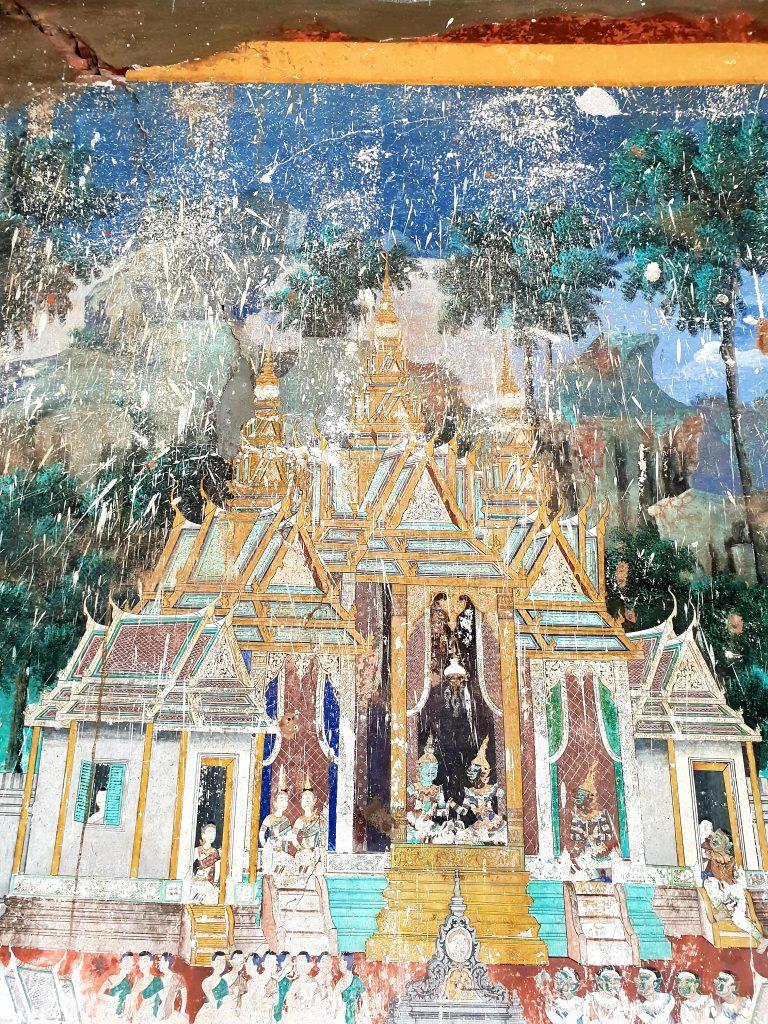 Achtlos durch Malerarbeiten an der Decke beschädigte, über 100 Jahre alte Wandgemälde