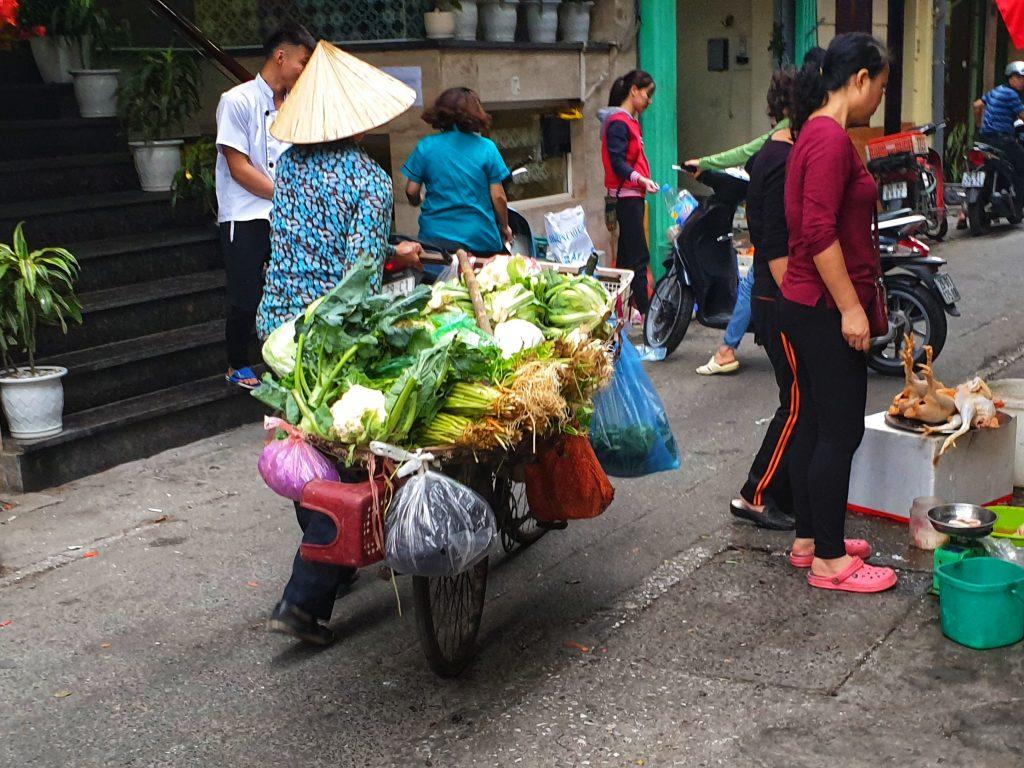 Gemüsehandel auf dem Fahrrad